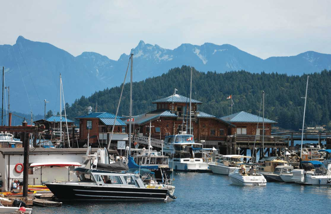 Gibsons Landing Harbour Authority and Marina is modern and full service. Via John Lund.