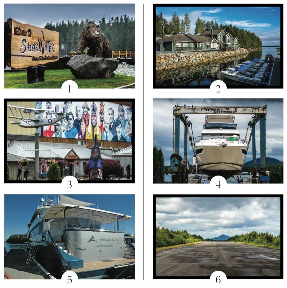 1–2. Shearwater has long been a premier destination for both anglers and boaters. 3. the mural on the old RCAF hangar. 4. the marina has a full range of services. 5. Catching up with old friends is one of the perks of visiting a place like this. 6. this paved airstrip provides access to aviators as well.